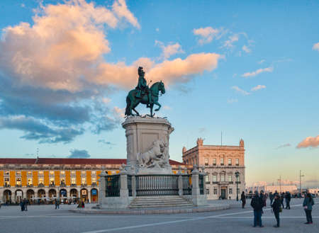 6 March 2018: Lisbon, Portugal - Praca do Comercio, or Commercial Square, with the equestrian statue of King Jose I, at sunset. Editoriali