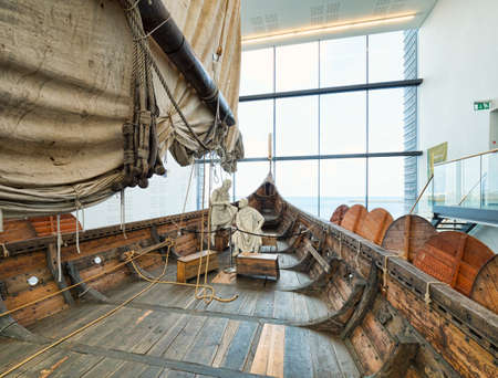18 April 2018: Keflavik, Iceland - On board the Islendingur, a replica of the Gokstad Viking Ship at Viking World museum.