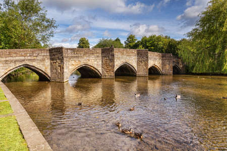 The 13th century, five arched bridge on the River Wye at Bakewell, Derbyshire, England