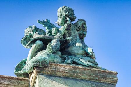Sweden,, Stockholm, Cherub sculpture at Royal Palace