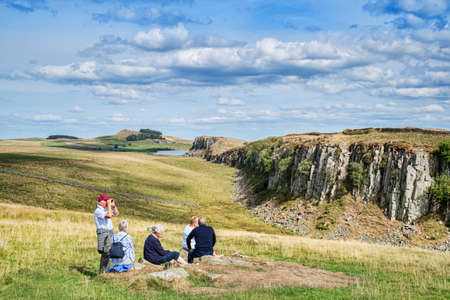 Seniors at Walltown Crags Hadrians Wall Northumberland UK