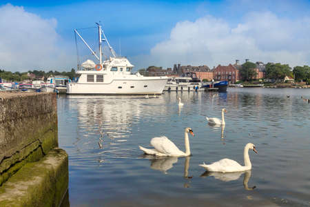 Oulton Broad, Norfolk, with Swans and Boats