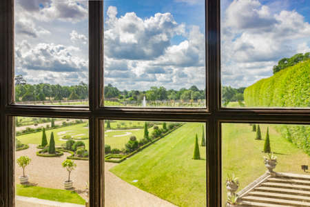 Hampton Court Garden View Through Window, UK
