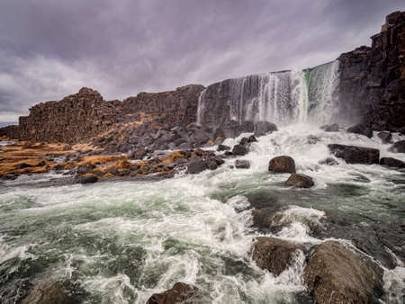 Oxararfoss Waterfall, Iceland 免版税图像 - 155989998