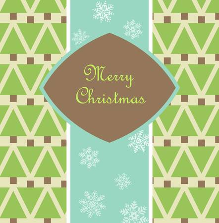 Christmas card with pine pattern and snowflakes