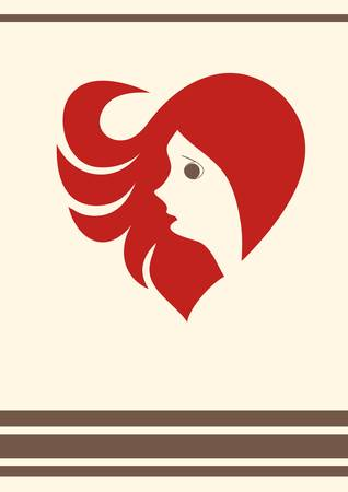 A girl with red hair form a heart Illustration