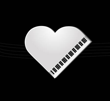 white piano on black background for your design Vector