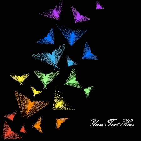 bright colorful butterflies on black background for you design Illustration