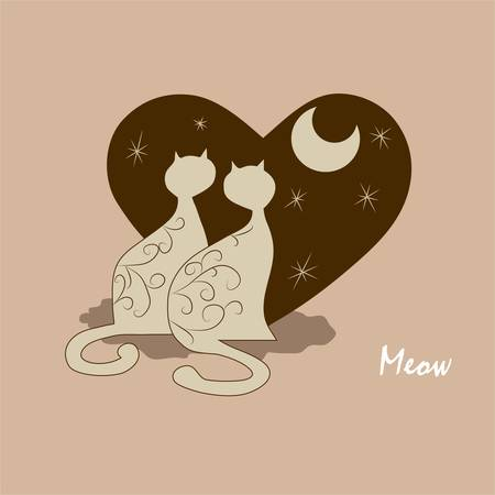 Couple of cute cartoon cats for your design Vector