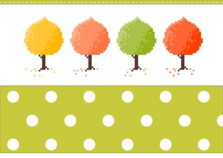 Four color autumn trees with a pattern Illustration