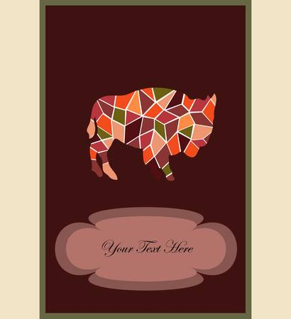 mosaic buffalo, a card for you design Stock Vector - 17094463