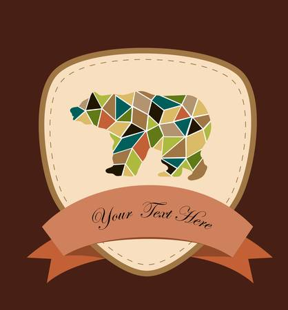 mosaic bear, a card for you design Illustration