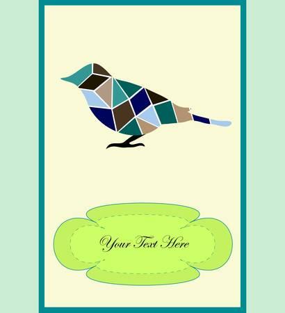mosaic bird, a card for you design