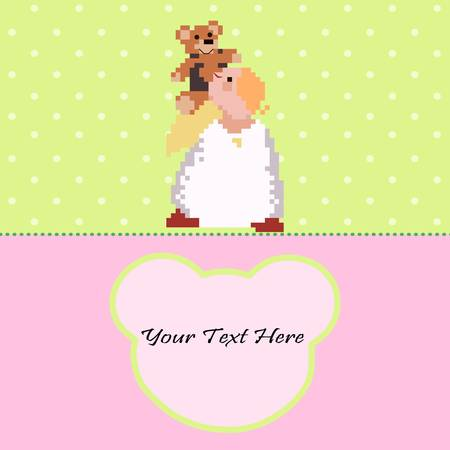Cute Angel with a Teddy Bear on the green and pink background Illustration