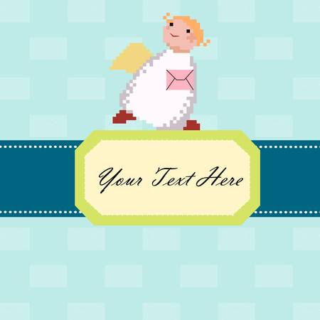 Cute Angel with a letter on the blue background Vector