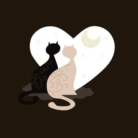 Couple of cute cartoon cats for your design Stock Vector - 17223927