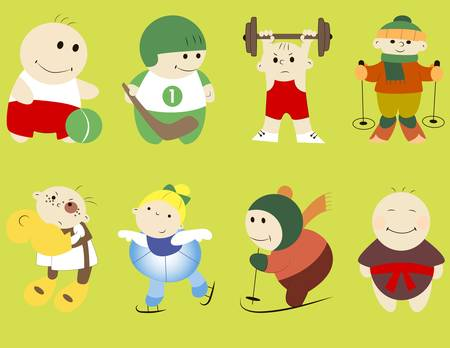 stumble: Collection of  funny cartoon sportsmen for your design Illustration