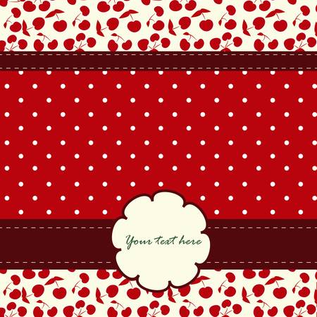 girlie: Card with cherries and nice pattern on the red background Illustration