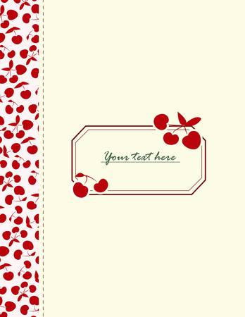 Coloful card with cherries for your design Ilustração