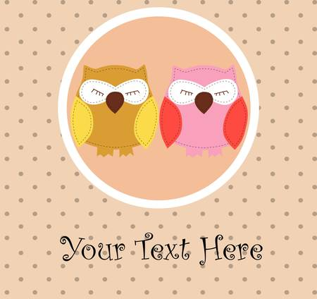 Card with sleeping owls for your design Illustration