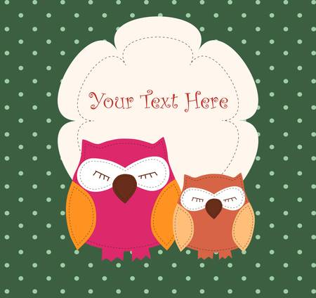 Card with sleeping owls for your design Vector
