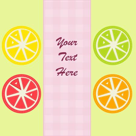 Colorful lemon, orange, lime and grapefruit slices Stock Vector - 17224069