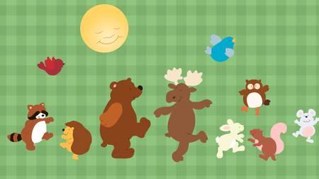 재미있는 만화 숲 동물의 집합 일러스트
