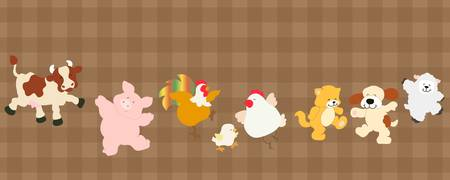 set of funny cartoon farm animals Vector