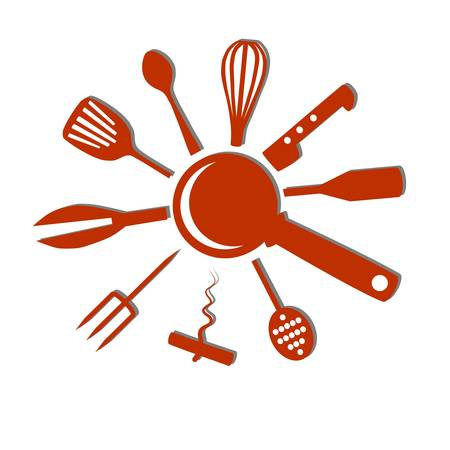 Kitchen accessories form a shape of Sun Stock Vector - 17379894