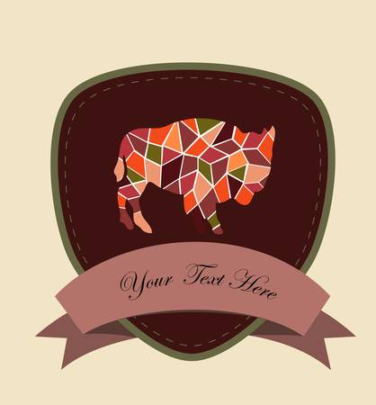 mosaic buffalo, a card for you design Stock Vector - 17379897