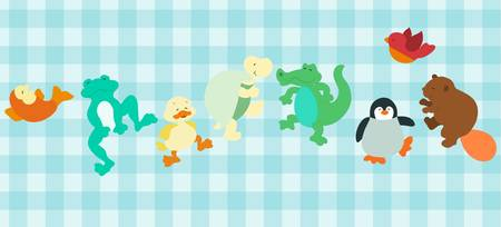 set of funny cartoon sea animals Vector