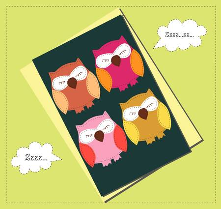 Card with sleeping owls for your holiday Vector
