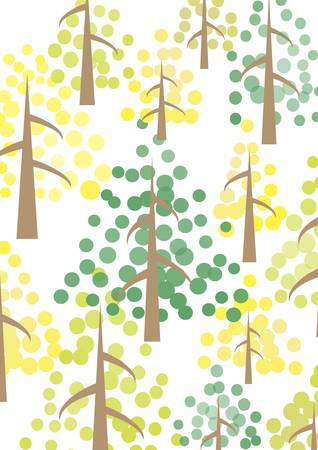 yellow and green trees in the forest Stock Vector - 17379914