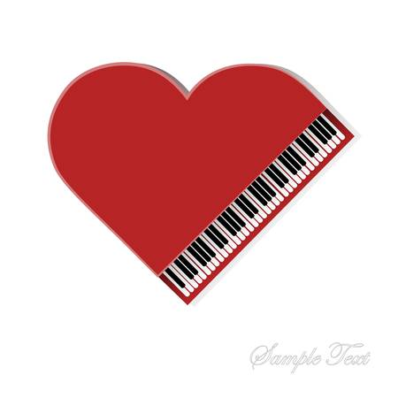 Red piano on white background for your design Ilustração