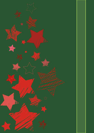 cristmas card: red stars of different sizes on Cristmas card