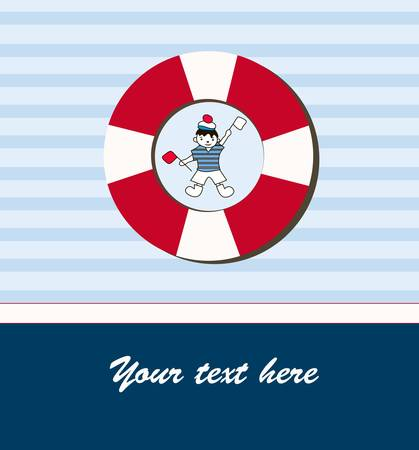 Young sailor with flags for you design