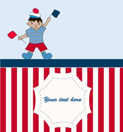 Young sailor with flags for you design Vector