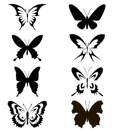 Set of black butterflies on white background Vector