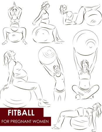 Vector set of a pregnant woman going in for sports