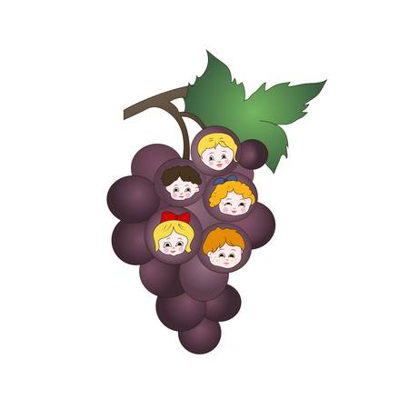Vector illustration of kids on the grapes Stock Vector - 17779848