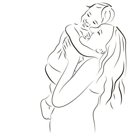moeder met baby: Hand getrokken silhouet van moeder en een baby Stock Illustratie