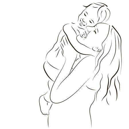 Hand drawn silhouette of mother and a baby