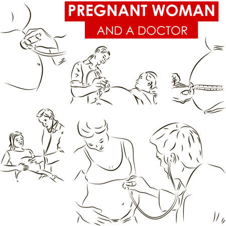 Set of vector sketches of d a doctor examining pregnant woman photo