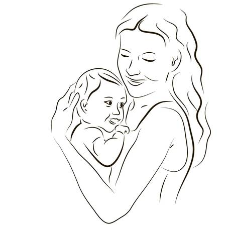 엄마와 아기의 손으로 그린 실루엣 일러스트