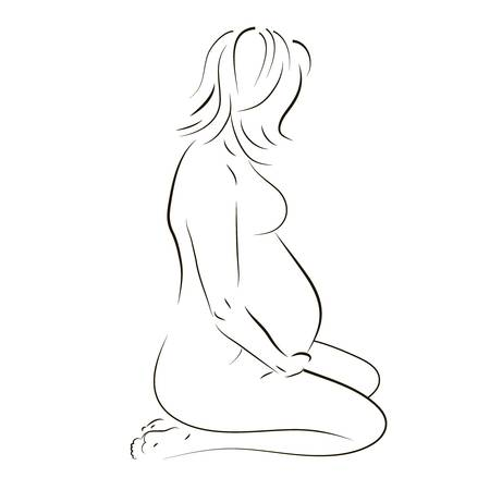fine lines: Vector illustration of a young pregnant woman