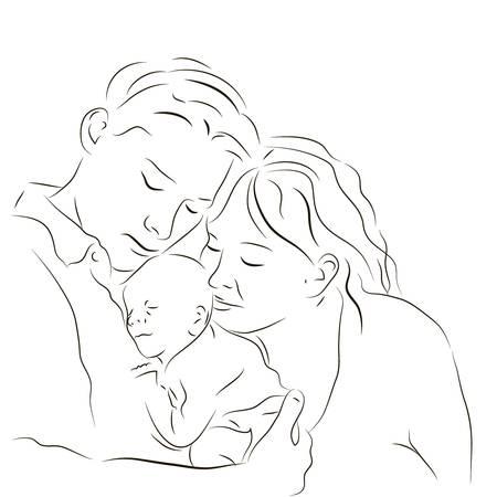 madre y bebe: Dibujado a mano silueta de los padres y un bebé