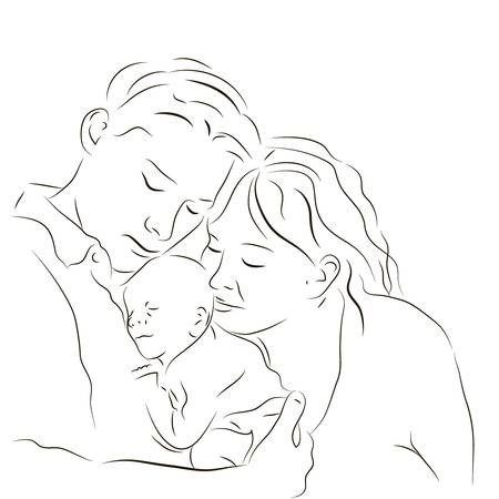 mother child: Hand drawn silhouette of parents and a baby