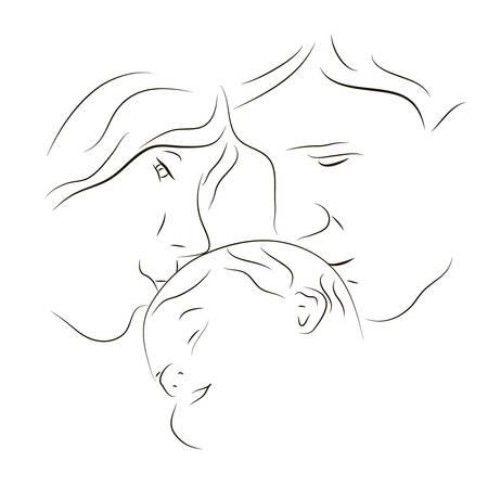 손으로 그린 부모의 실루엣과 아기 일러스트