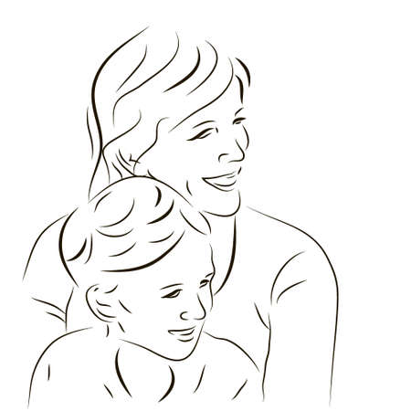 Hand drawn silhouette of mother and a son Stock Photo
