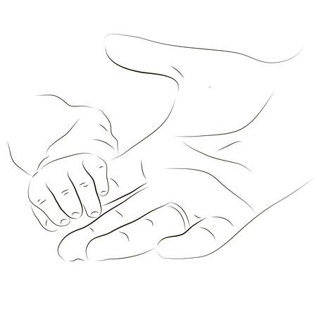 Baby's little hand holding parent's index finger Stock Vector - 18011534